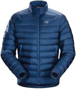 This down jacket buying guide photo shows the men's Arc'teryx Cerium LT Jacket.