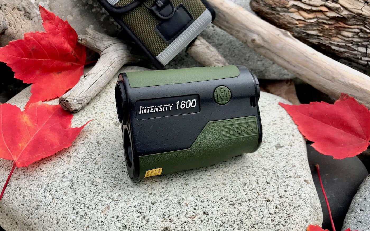 This photo shows the Cabela's Intensity 1600 Laser Rangefinder with its included carry case.