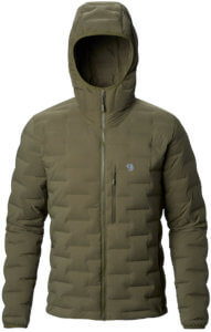 This down jacket and coat buying guide photo shows the men's Mountain Hardwear Super/DS StretchDown Jacket.