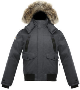 This best down jacket buying guide photo shows the Triple F.A.T. Goose Norden Hooded Bomber Jacket.