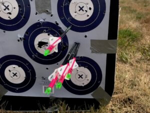 This photo shows arrows stuck in a target.