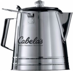 This best camping gear gift photo shows the Cabela's Campfire Coffee Pot for camping.