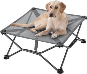 This camping gifts idea photo shows the Cabela's Duramesh Elevated Dog Bed.