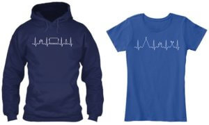 This photo shows a camping hoody and a camping t-shirt.