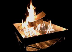 This camping gift photo shows the Fireside Outdoor Pop-Up Fire Pit.