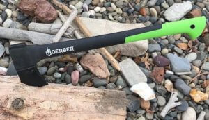 This camping photo shows a Gerber Axe.