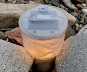 This camping gift idea photo shows the MPOWERD Luci Pro inflatable solar lantern.