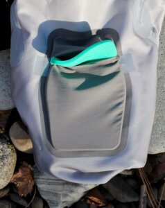 This photo shows the Orvis Pro Wader removable kneepads.