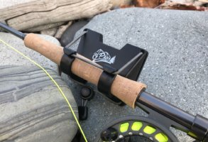 This photo shows the O'Pros 3rd Hand Rod Holder attached to a fly fishing rod.