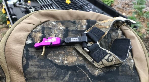 This review photo shows the Spot-Hogg Wiseguy bow release outside.