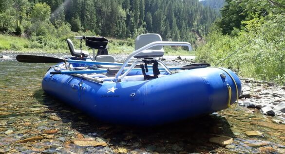 This photo shows the NRS Star Outlaw raft set up with a fly fishing frame from NRS.