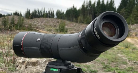 This review photo shows the Cabela's CX Pro HD Spotting Scope adjusted at an angle for easier viewing.