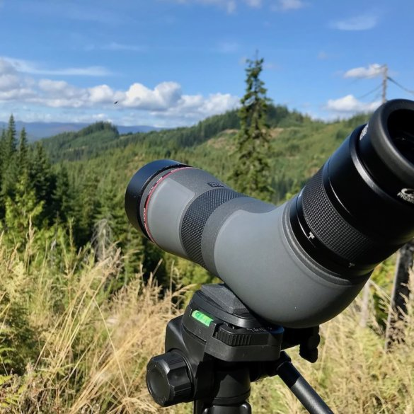 This photo shows the Cabela's CX Pro HD Spotting Scope outside in the woods on a tripod.