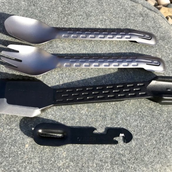 This photo shows the Gerber ComplEAT backpacking and camping utensil set.