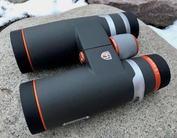 This photo shows the Maven B.1 Binocular gray and orange 10x42 option.