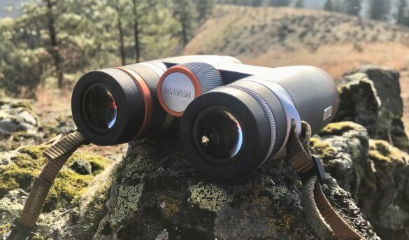 This photo shows the Maven B.1 Binocular in the 10x42 orange and gray configuration.