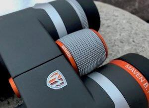 This photo shows the Maven B.1 Binocular focus wheel.