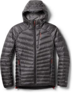 This photo shows the asphalt color version of the men's REI Co-op Magma 850 Down Hoodie 2.0.