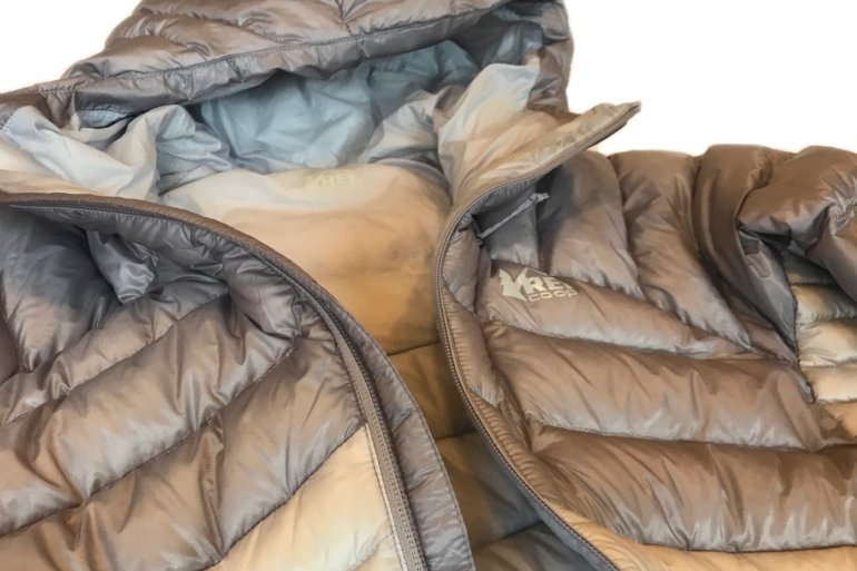This photo shows a closeup of the women's REI Co-op Magma 850 Down Hoodie 2.0.