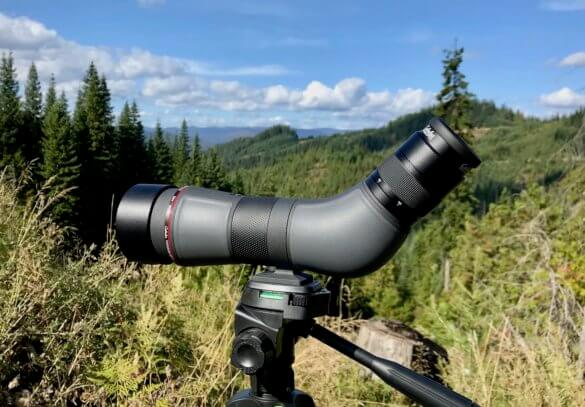 This photos shows the Cabela's CX Pro HD Spotting Scope 15-45X version outside.