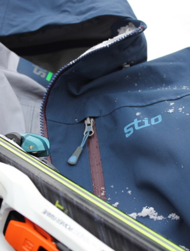 This photo shows the Stio Environ Jacket shell for skiing and snowboarding.
