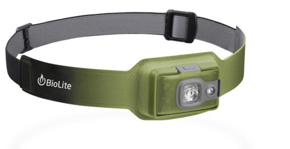 This photo shows the BioLite HeadLamp 200 headlamp in the moss green version.