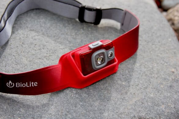 This photo shows the BioLite HeadLamp 200 headlamp tilt mode.