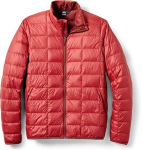 This photo shows the red men's REI Co-op 650 Down Jacket 2.0.