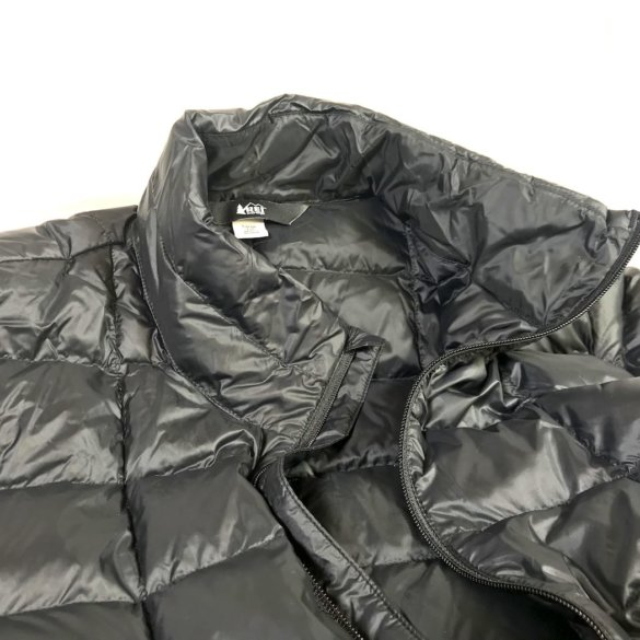 This photo shows a closeup of the men's REI Co-op 650 Down Jacket 2.0.