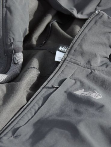 This review photo shows the REI Co-op Activator Soft-Shell Jacket chest pocket.
