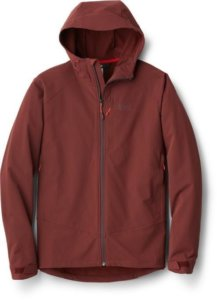 This review photo shows the men's REI Co-op Activator Soft-Shell Jacket.