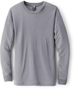 This photo shows the men's REI Co-op Silk Long Underwear Crew Shirt.