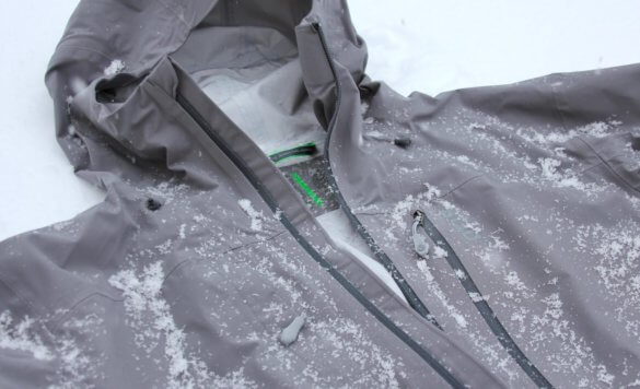This photo shows a closeup of the Stio Raymer ski jacket.
