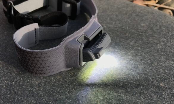 This photo shows the tilt function on the BioLite HeadLamp 330.