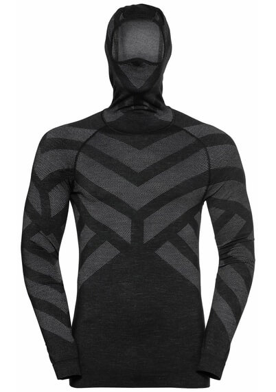 This photo shows the Odlo Men's NATURAL + KINSHIP WARM Baselayer with Facemask.