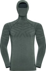 This is a product photo of the men's Odlo Natural + Kinship Warm Base Layer Top with Face Mask.