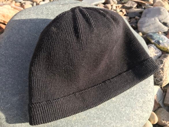 This photo shows the inside of the Showers Pass Crosspoint Waterproof Beanie.