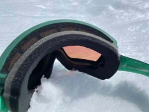 This photo shows the foam on the SPY Legacy Snow Goggle.