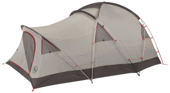 This photo shows the Big Agnes Mad House 8 Tent for mountaineering and bad weather.