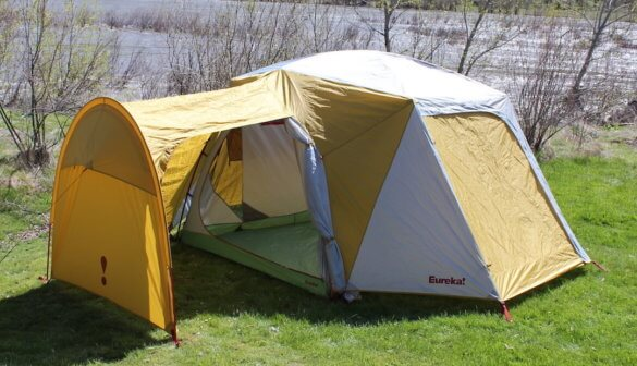 This photo shows the Eureka! Boondocker Hotel 6 Tent with gear garage.