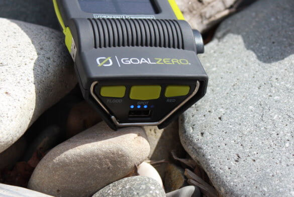 This photo shows the LED indicator lights on the Goal Zero Torch 250.