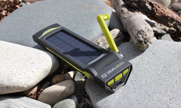 This review photo shows the Goal Zero Torch 250 solar flashlight with the hand crank option extended.