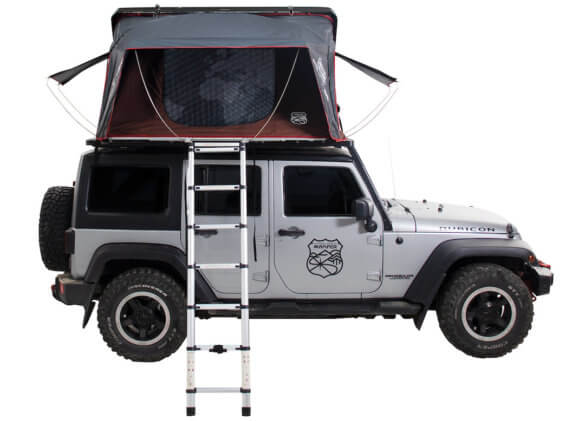 This rooftop tent photo shows the iKamper Skycamp 2.0 Tent on top of a JEEP SUV.