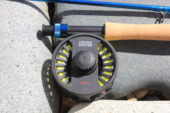 This photo shows a closeup of the Redington Crosswater Reel.