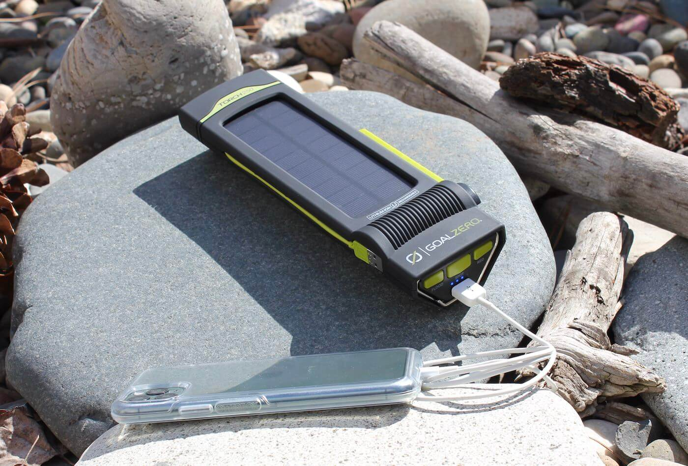 This review photo shows the Goal Zero Torch 250 solar flashlight and phone charger.