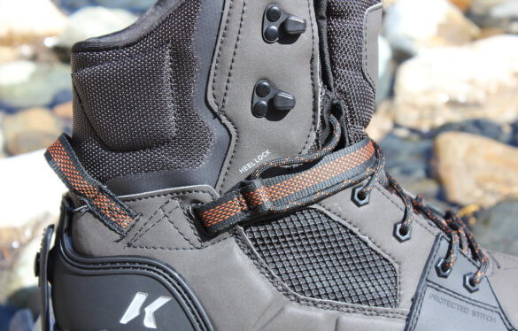 This photo shows a close up of the heel-lock system on the Korkers Terror Ridge Wading Boots.