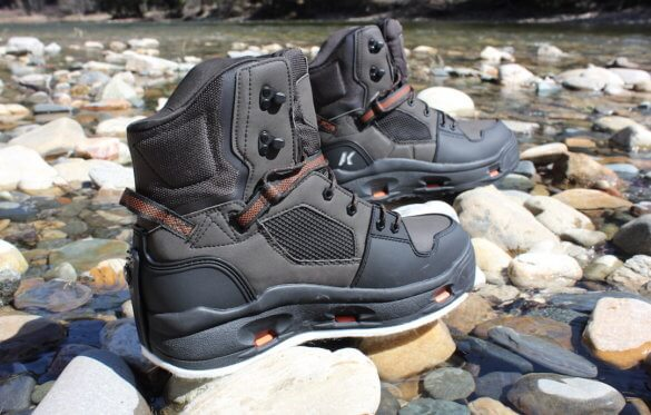 This review photo shows the Korkers Terror Ridge wading boots with felt and rubber soles.