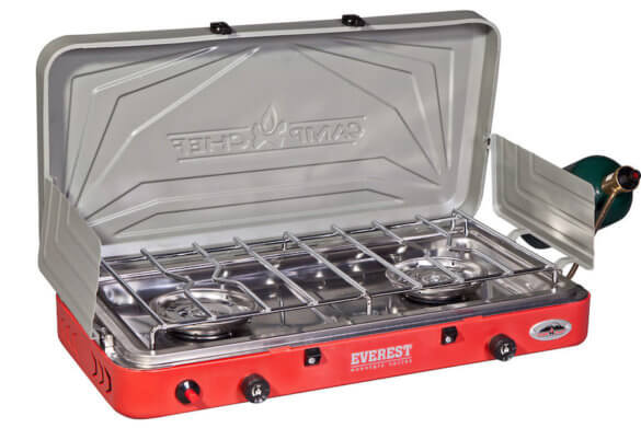 This best camping stove product photo shows the Camp Chef Everest 2-Burner Camping Stove.