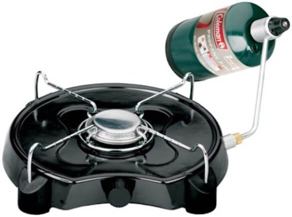 This camping stove photo shows the single-burner Coleman Powerpack Propane Stove.