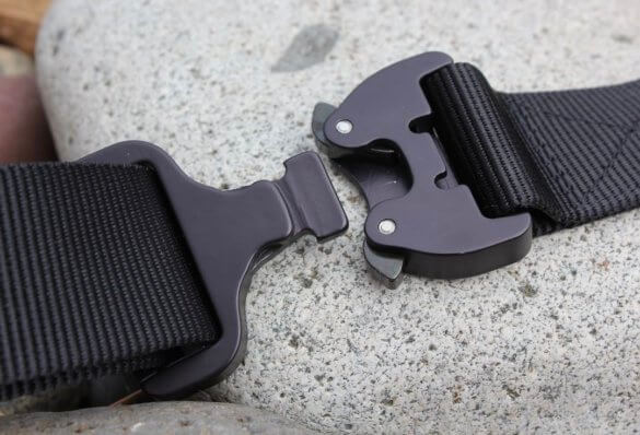 This image shows the back side of the buckle on a Klik Belt.